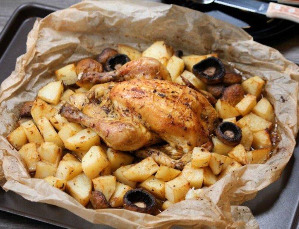 Coquelet in papiota cu cartofi si ciuperci- reteta